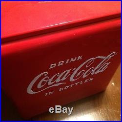 Vintage Metal 1950's Red Coca Cola Cooler with Side Bottle Opener SUPER NICE