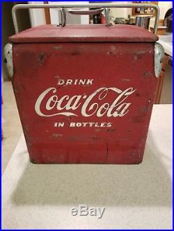 Vintage Metal 1950s Coca-Cola Cooler Acton Junior Nicely Used Condition
