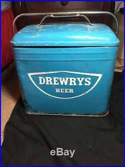 Vintage Metal Blue Drewrys Beer Cooler