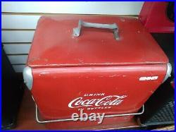 Vintage Metal Coca Cola Cooler Bottle Opener Pop Coke 1950s Tray Insert + Bottle