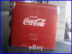 Vintage Metal Coca-Cola Cooler Chest Bottle opener & Scoop Action MFG 17X12X17