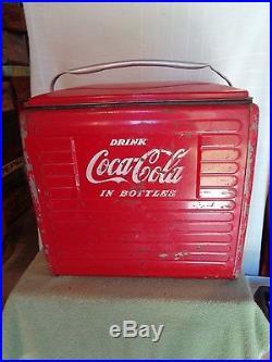 Vintage Metal Coca-cola In Bottles Cooler With Opener