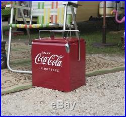 Vintage Metal Cooler Red Chrome Accents Bottle Opener Coca-Cola Logo