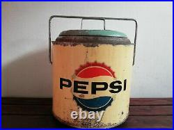 Vintage Mexican PEPSI COLA METAL PICNIC ICE CHEST COOLER from 60's RARE HTF