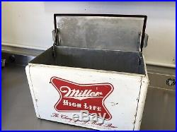 Vintage Miller High Life Metal Cooler 2 Sided Embossed
