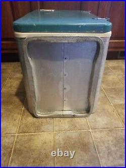 Vintage NICE RARE Aluminium Teal Coleman Diamond Logo Cooler Chest 23x13x16