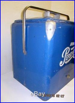 Vintage Nostalgic 50's metal blue Pepsi-Cola travel cooler bottle opener