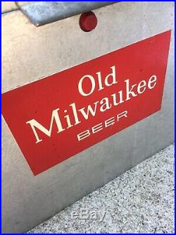 Vintage Old Milwukee Beer Cooler, Metal, Cronstroms Minneapolis, Bear Ad