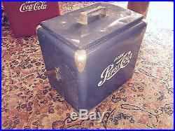 Vintage Original 1950's Pepsi Cola Blue Metal Cooler with Tray & Top L@@K