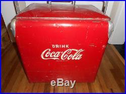 Vintage Original COCA COLA COKE SODA POP Advertising METAL COOLER w LID & TRAY