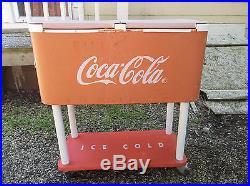 Vintage Original Metal Rolling Coca Cola Cooler