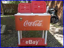 Vintage Original Metal Rolling Coca-Cola Cooler