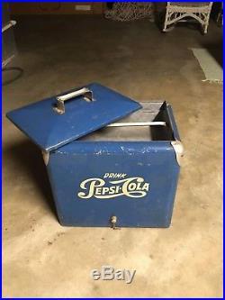 Vintage Pepsi Cola Cooler Blue/White Metal Drain