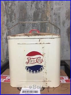 Vintage Pepsi Cola Cooler Double Dot Metal Soda Drink Superior JR Junior Rare