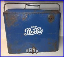 Vintage Pepsi Cola Cooler Soda Pop Picnic Cooler Bottle Cooler Embossed Metal