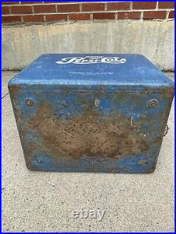 Vintage Pepsi Cola Original Cooler Metal Blue Paint Ice Chest 1950s Advertising