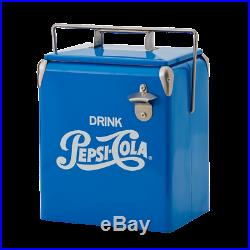 Vintage Pepsi Cola Style Retro Syle Blue Metal Cooler with Bottle opener /3000