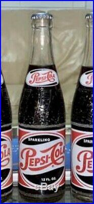 Vintage Pepsi Metal Cooler And Seven Vintage Full Bottles Of Pepsi
