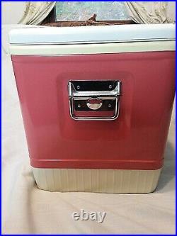 Vintage Pink Coleman Diamond Logo Cooler Ice Chest Mag-Lock Chrome White