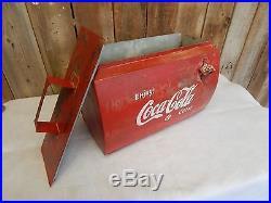 Vintage Primitive Embossed Metal Coca-Cola Cooler Cabin Decor Industrial 0402