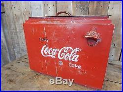 Vintage Primitive Embossed Metal Coca-Cola Cooler Cabin Decor Industrial 0617