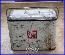 Vintage Rare 1950's Progress Refrigerator 7up Advertising Cooler Metal