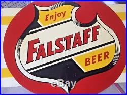 Vintage Rare Falstaff Beer Metal Sign Beer Unique Cooler Or Outdoor Type cl