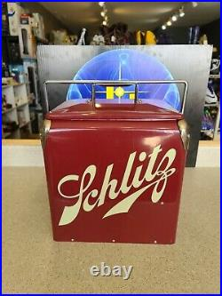 Vintage Rare Schlitz Beer Metal Cooler With Locking Handle