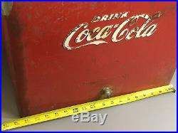 Vintage Rare Size Lg Coca Cola Cooler Original Progress Refrigerator Metal 1950s