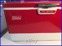 Vintage Red Metal Coleman Cooler 44 Qt Snow Lite Model Original Box