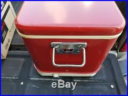 Vintage Red Metal Thermos Cooler 22 Deluxe And Original Box Good Condition