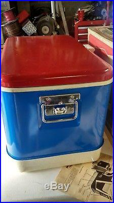 Vintage Red White Blue 1960's Metal Thermos Cooler/ice Chest Rare Piece Camping