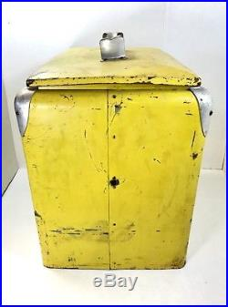 Vintage Royal Crown RC Cola Yellow Metal Cooler with Lid, Soda Pop Coca Cola 7 Up
