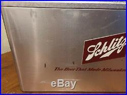 Vintage SCHLITZ Cronco Cronstroms Metal Beer Cooler NOS Never Used Ice Chest