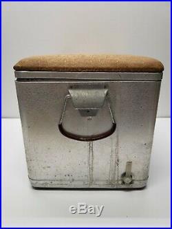 Vintage SCHLITZ Cronstroms Metal Beer Cooler Ice Chest with Padded Seat Handles