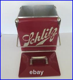 Vintage Schlitz Beer Metal Cooler With Locking Handle and Built-in Opener