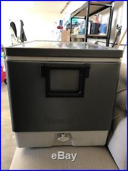Vintage Silver Coleman Steel Beelted 80 Quart Cooler