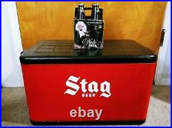 Vintage Stag Beer Metal Ice Chest + Nude Bottles Case Sign Budweiser Hamms Coors
