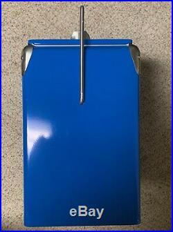 Vintage Style Retro Blue Metal Pepsi Cola Cooler with Bottle Opener