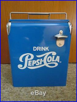 Vintage Style Retro Blue Metal Pepsi Cola Cooler with Bottle opener! Rare