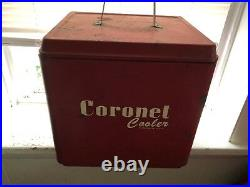 Vintage The Hamilton Scotch Corp Coronet Cooler Metal Red