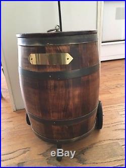 Vintage Wood Keg Soda Beer Cooler Rare Metal Lined