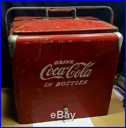 Vintage Metal Coca Cola Cooler Picnic Basket Coke