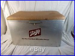 Vintage1960s Schlitz Beer Advertising Aluminum Metal Cooler Padded Seat Lid