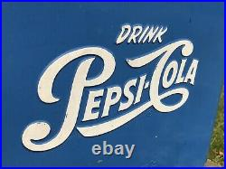 Vtg 1950s Pepsi Cola Soda Pop Cooler Metal Ice Chest With Sandwich Tray