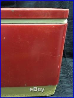 Vtg 28 Wide 70s Red Metal Coleman Cooler Chest with Handles Camping Props