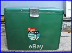 Vtg 50's Metal Penguin Logo Steel Green Coleman Model 632 Cooler Chest Complete