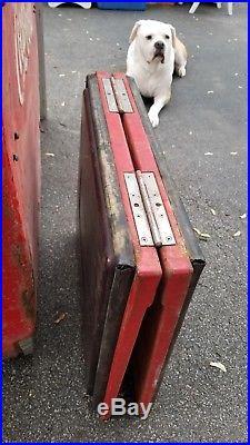Vtg COCA COLA Metal Store Cooler Embossed Letterin & Dual Flip Top Lid 42x27x35
