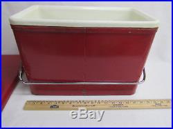 Vtg Coleman Cooler Red Metal Carry Handle Diamond Top