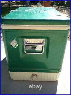 Vtg Coleman Diamond Large Green Metal & Plastic Picnic Ice Cooler